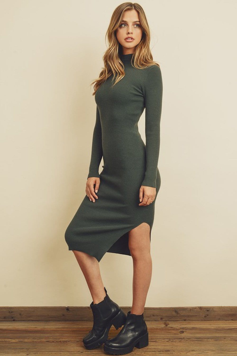 Tia Ribbed Mock Neck Dress