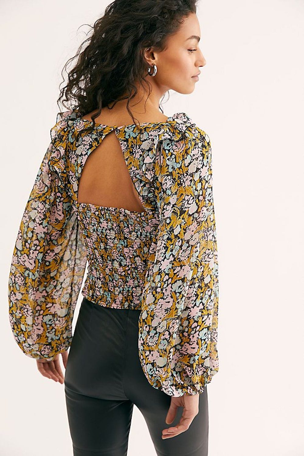 Free People Mabel Printed Blouse Black Combo