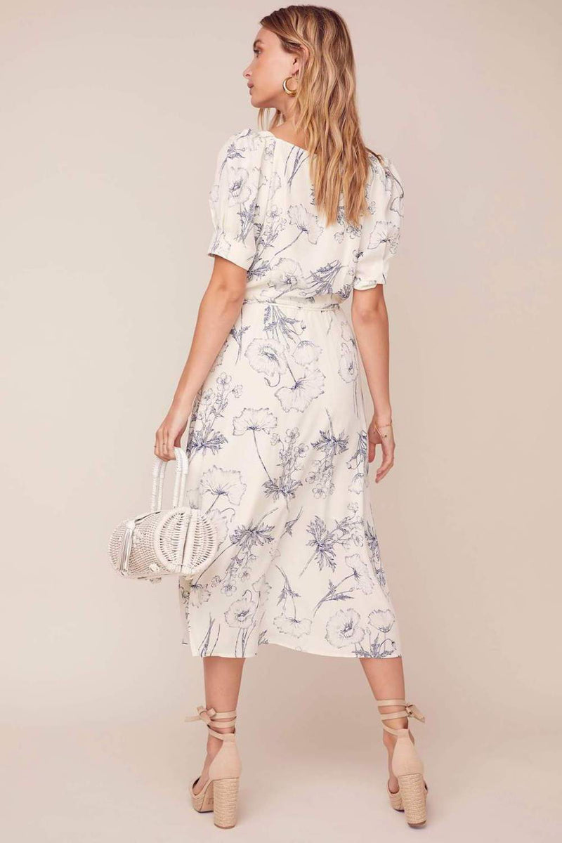 ASTR The Label Elysian Dress Navy Sketch Floral