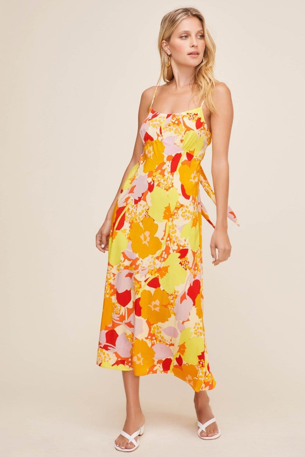 ASTR The Label Charisma Dress Yellow Orange Tropical Floral