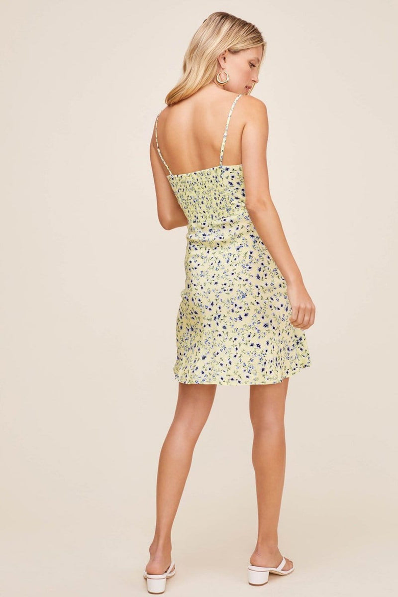 ASTR The Label Chalet Dress Lemon Cobalt Floral
