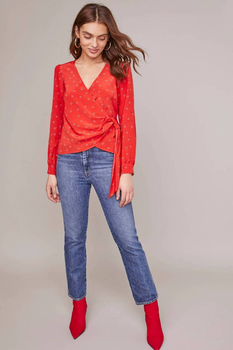 ASTR The Label Olympia Top Red Floral Dot