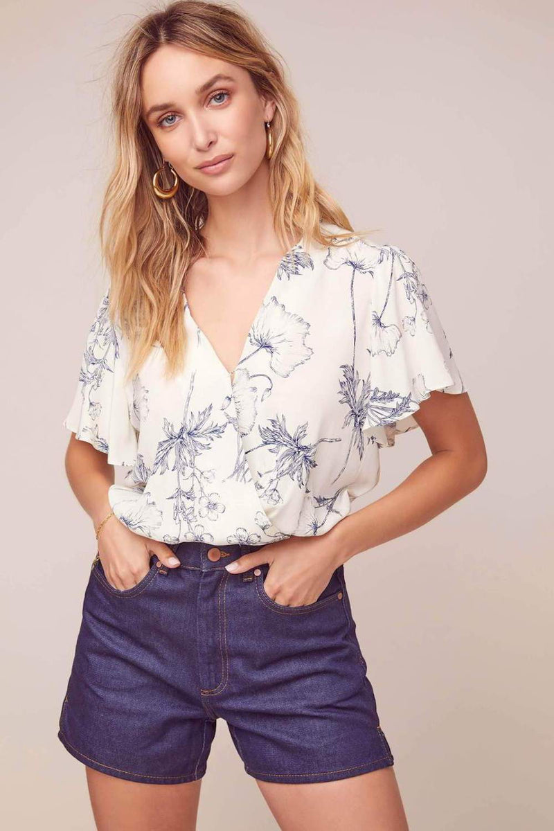 ASTR The Label Jules Top Navy Sketch Floral