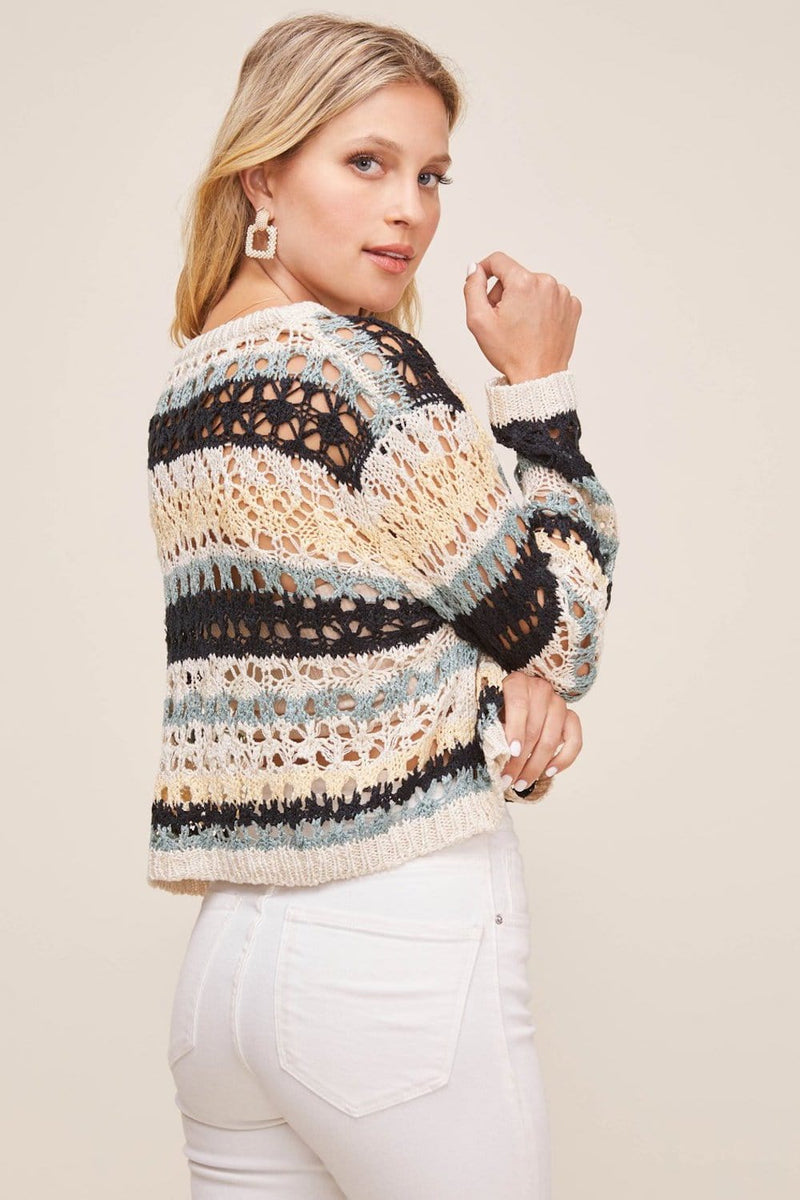 ASTR The Label Jaded Sweater Black Teal Multi