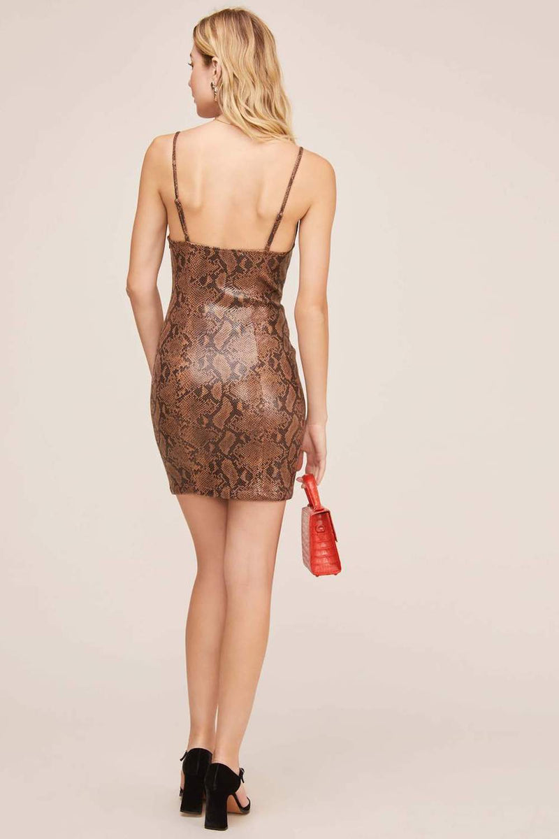ASTR The Label Come Slither Dress Cocoa Python