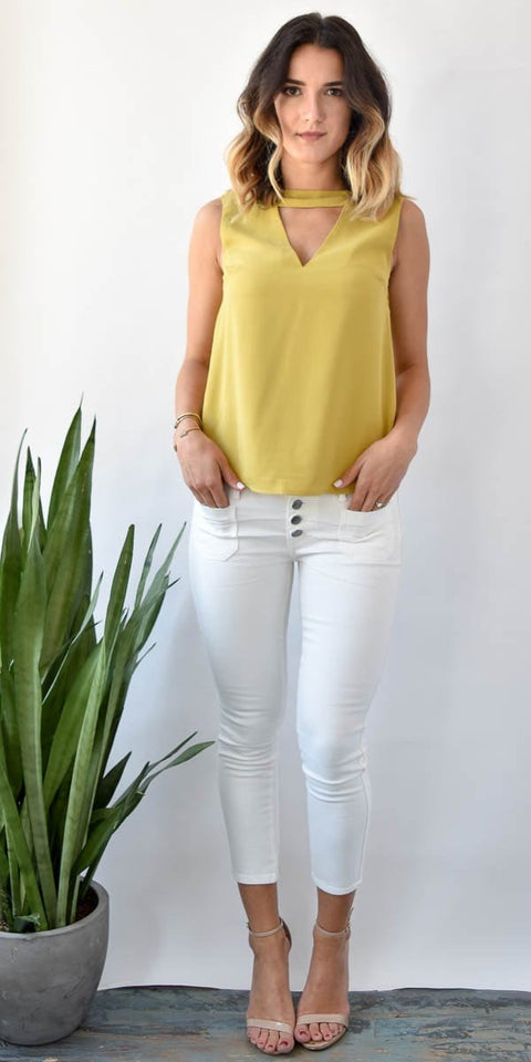 Choker V-Neck Tank Top Citron