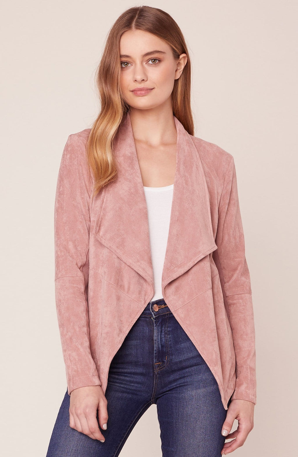 BB Dakota Wade Faux Suede Jacket Rose Taupe