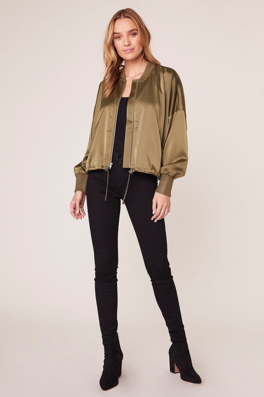 Jack by BB Dakota Shoulder On Duty Satin Bomber Jacket | Wild Dove Boutique | San Diego, CA