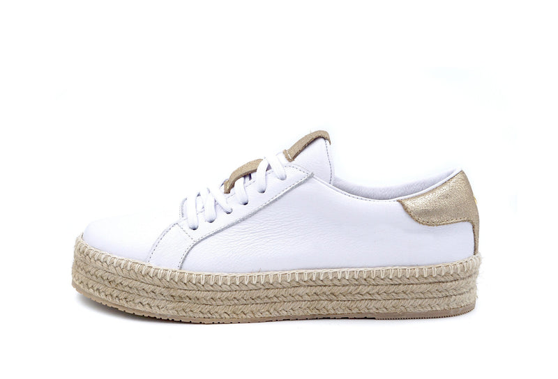 Kaanas Arizona Leather Espadrille White