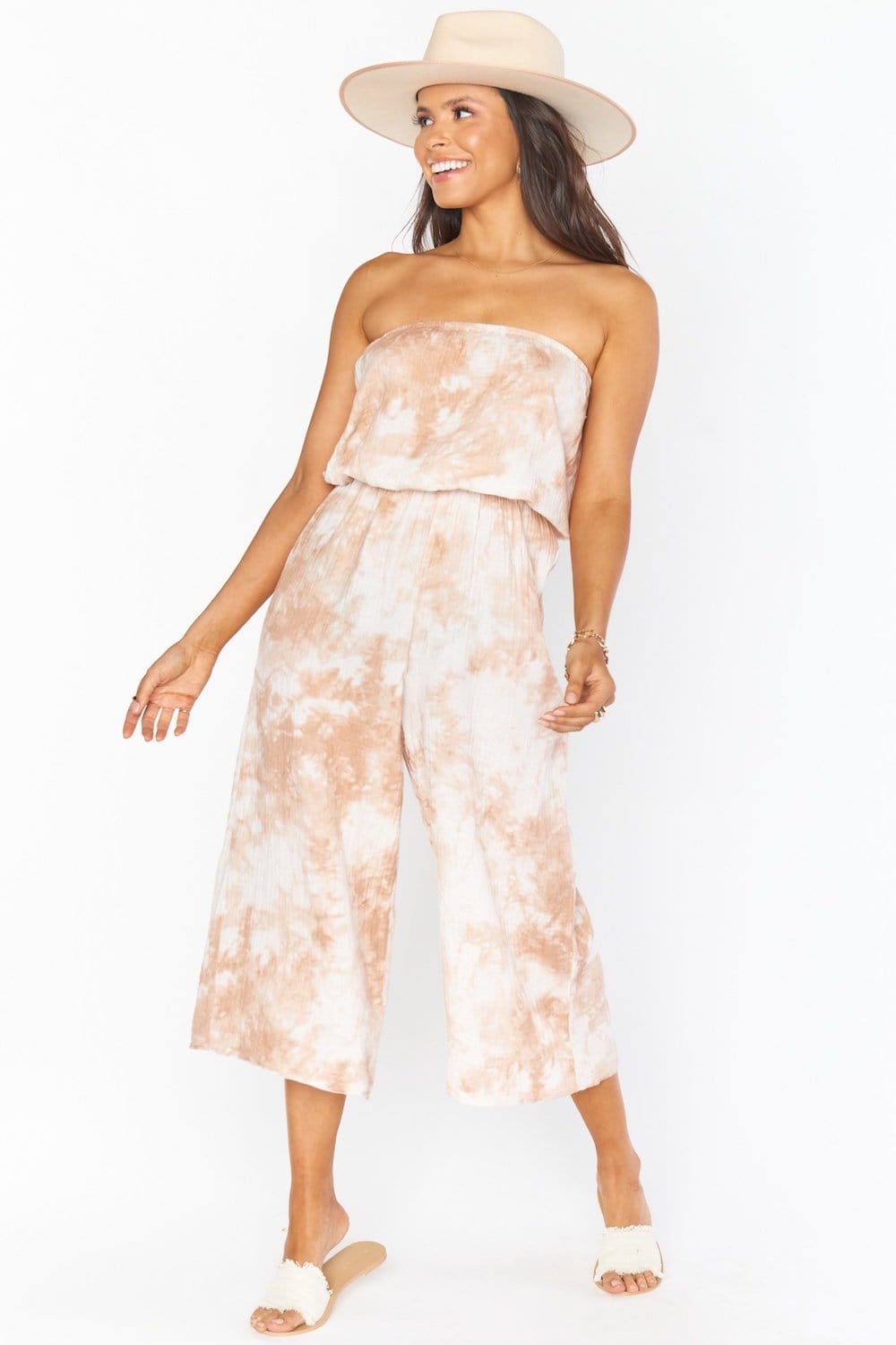 Show Me Your Mumu Estelle Jumpsuit Twisted Tie Dye Tan