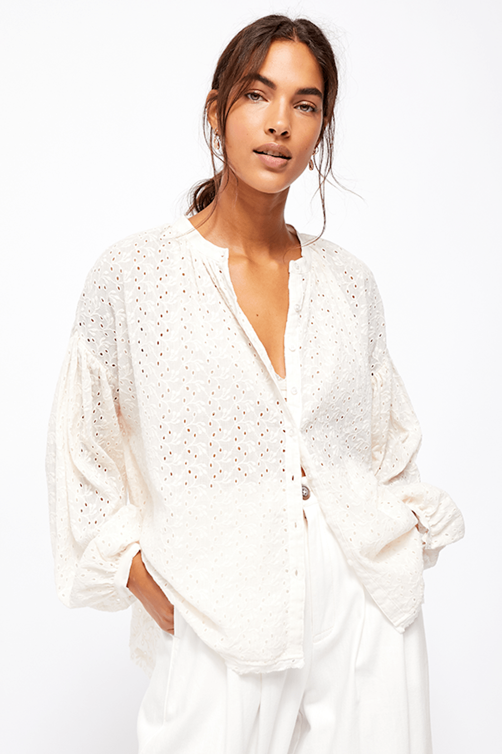 Free People Maddison Eyelet Blouse Angel Food