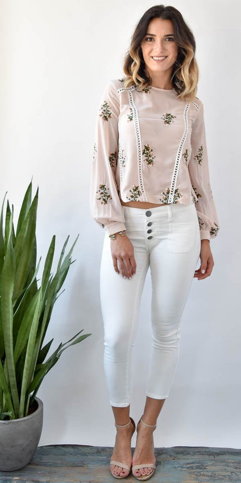 Endless Rose Blush Embroidered Blouse | Wild Dove Boutique