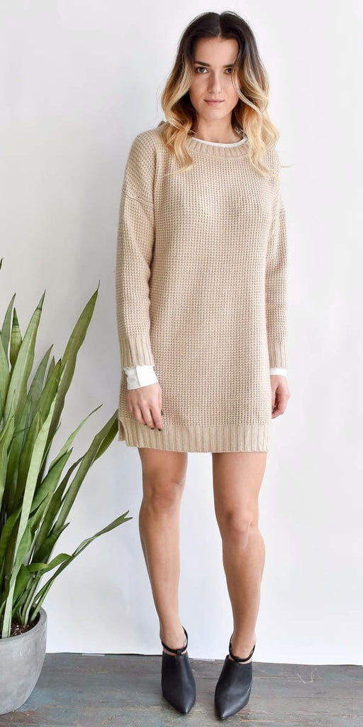 Ashley Waffle Knit Sweater Dress