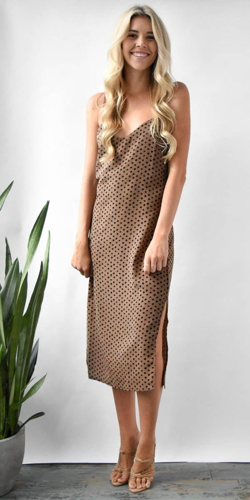 Stillwater Slip Midi Dress in Leopard Spots