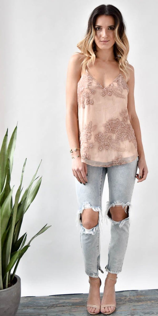 Lavender Brown Blush Burnout Lace Tank