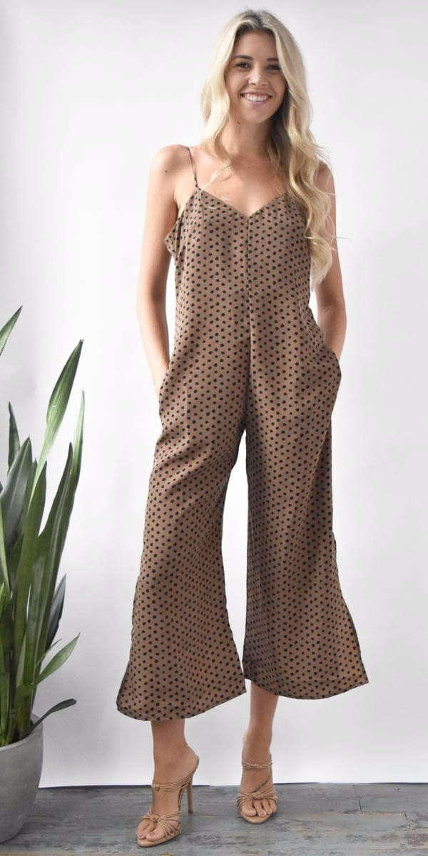Stillwater Side Slit Jumpsuit in Leopard Spots