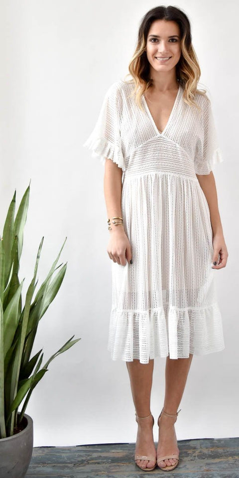 Endless Rose White Eyelet Midi