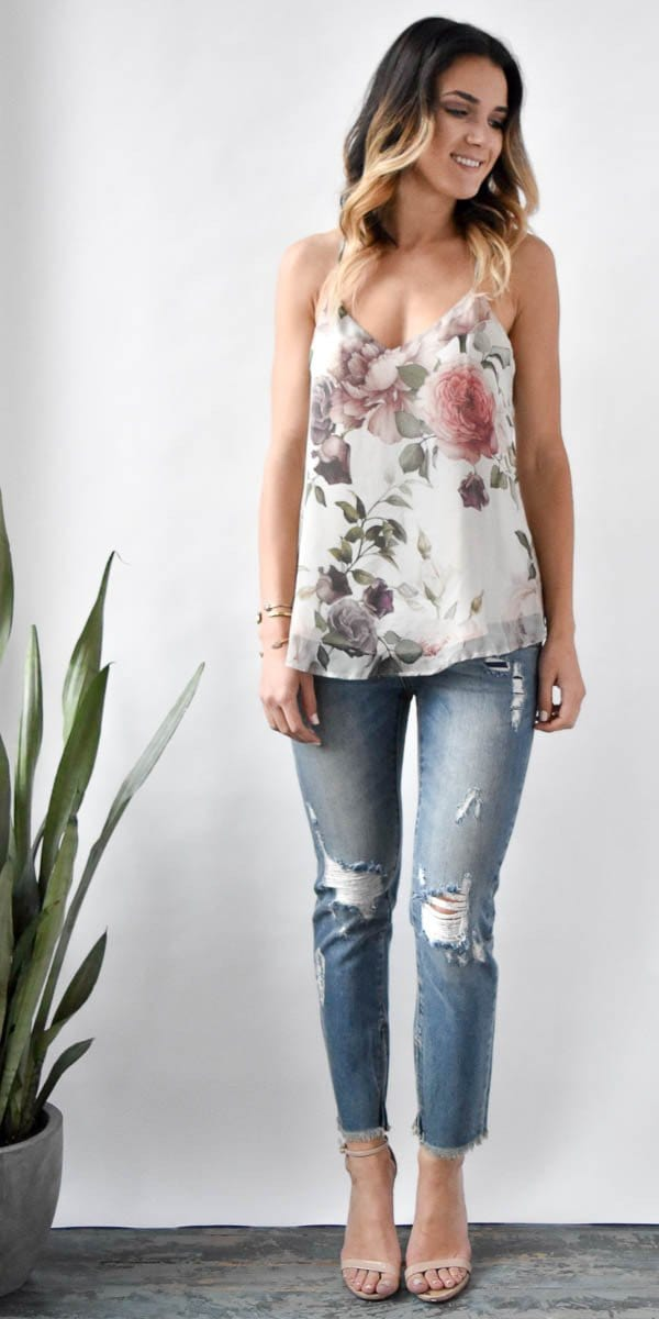 Lavender Brown Silk Floral Tank