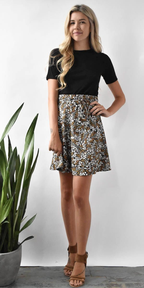 The Fifth Label Jeanne Skirt in Black Floral Muse
