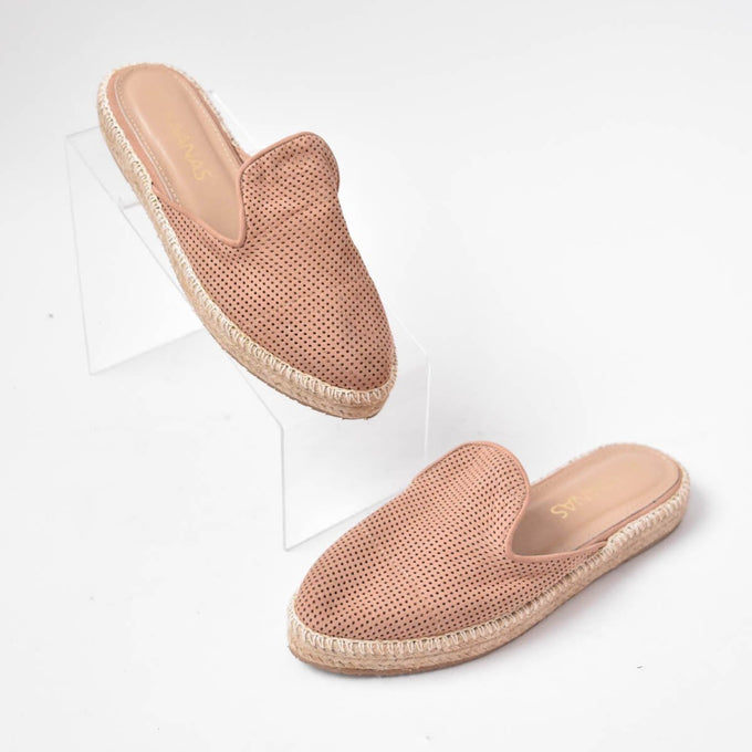 Kaanas Sedona Perforated Mule Espadrilles Rose