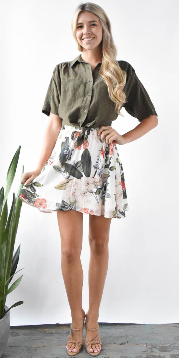Show Me Your Mumu Carlita Mini Skirt in Enchanted Florist