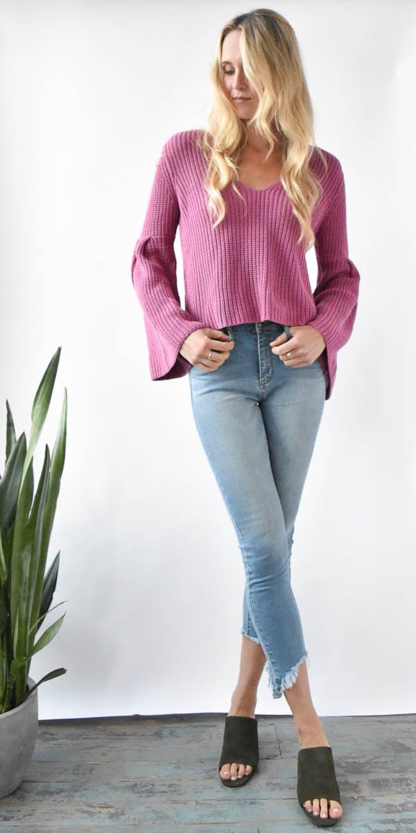 Free People Damsel Pullover in Rose