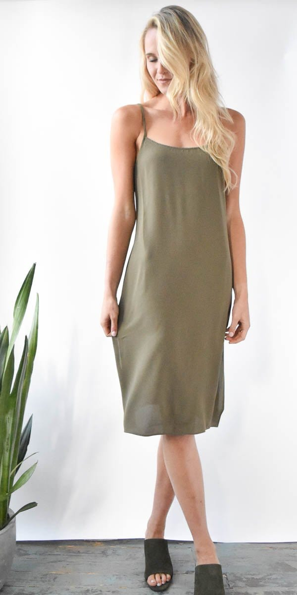 Show Me Your Mumu Shiloh Slip Dress in Olive Pebble