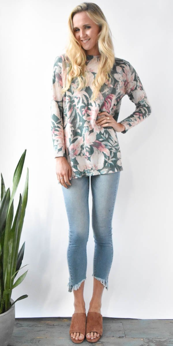 Show Me Your Mumu Fireside Sweater in Petals Pine Knit