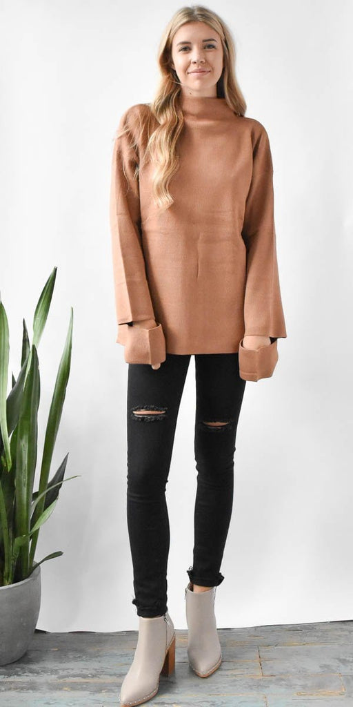 EVIDNT Maitland Light Brown Funnel Neck Sweater