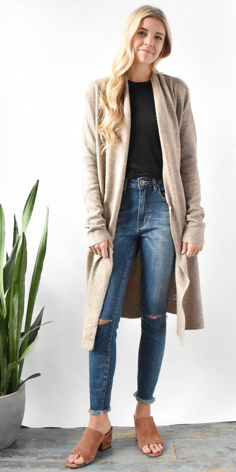 Gentle Fawn Trinity Long Cardigan in Heather Camel
