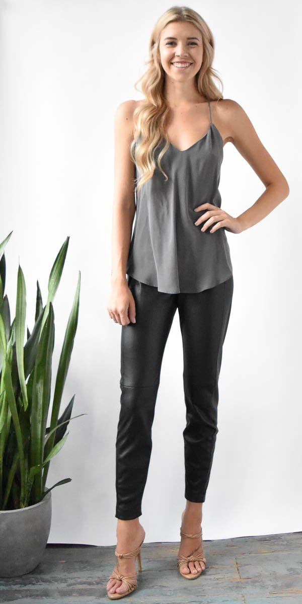 Lavender Brown Silk V Tank in Charcoal
