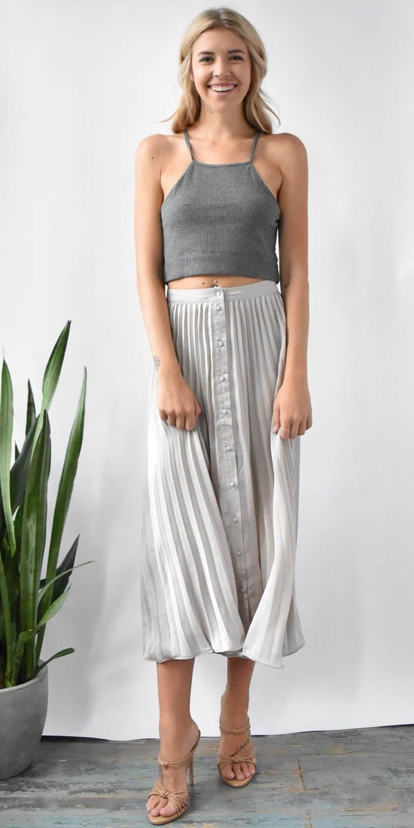 Lost + Wander Sterling Pleated Skirt