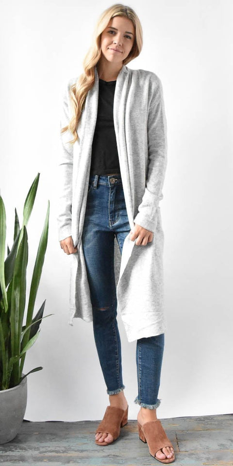 Gentle Fawn Trinity Long Cardigan in Light Heather Grey