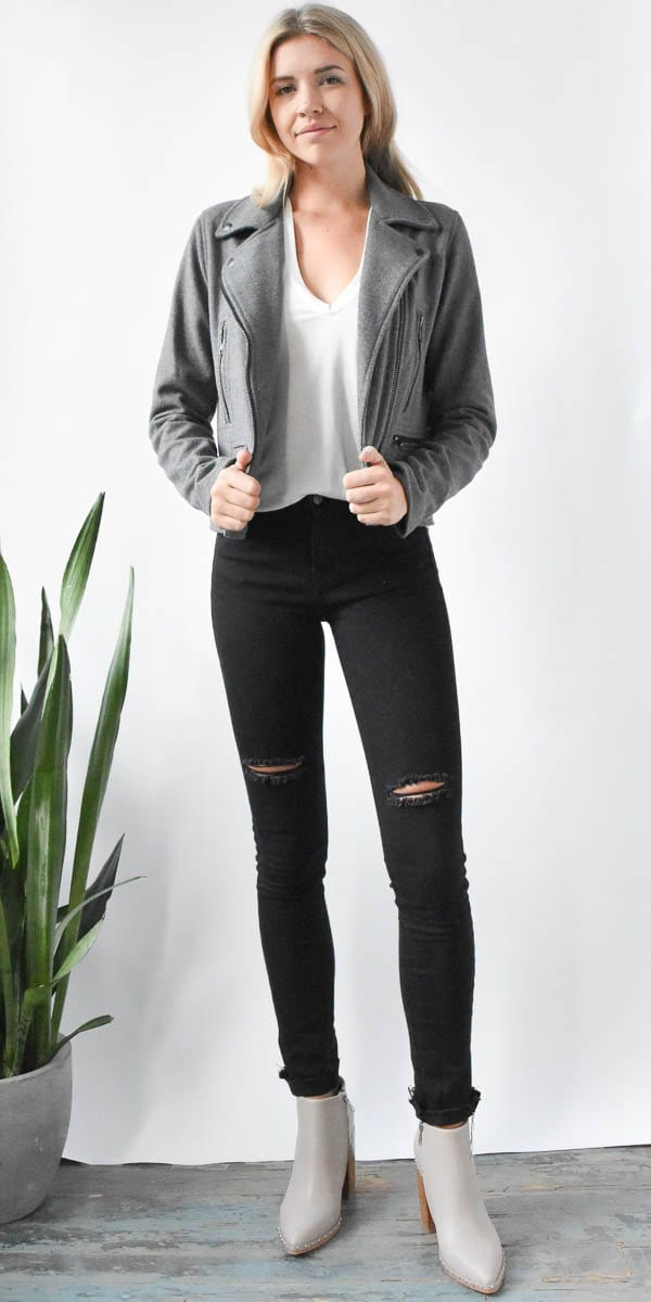 Grey Moto Jacket | Wild Dove Boutique