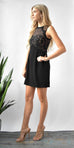 Greylin Cynthia Lace Blocked Dress in Black Lace