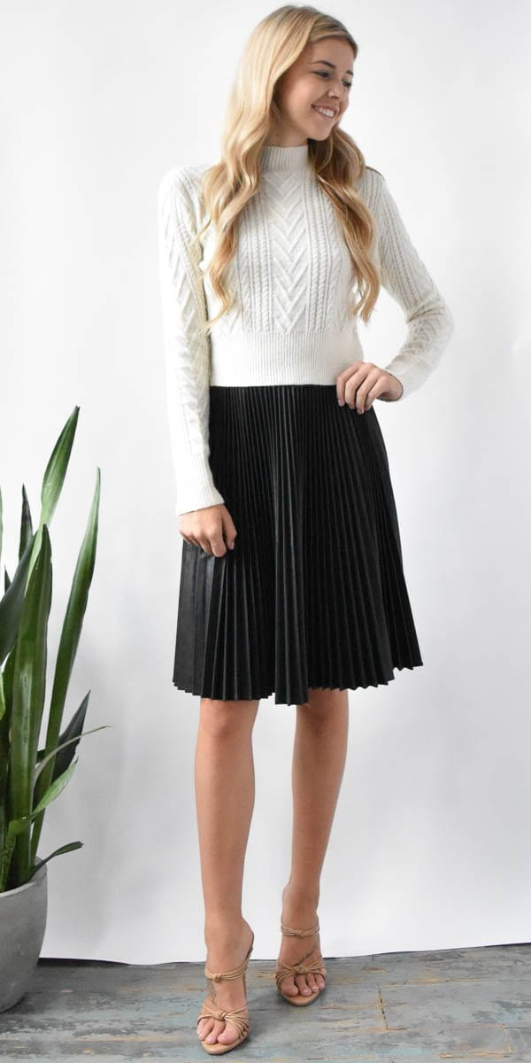 Lavender Brown Pleated Faux Leather Skirt