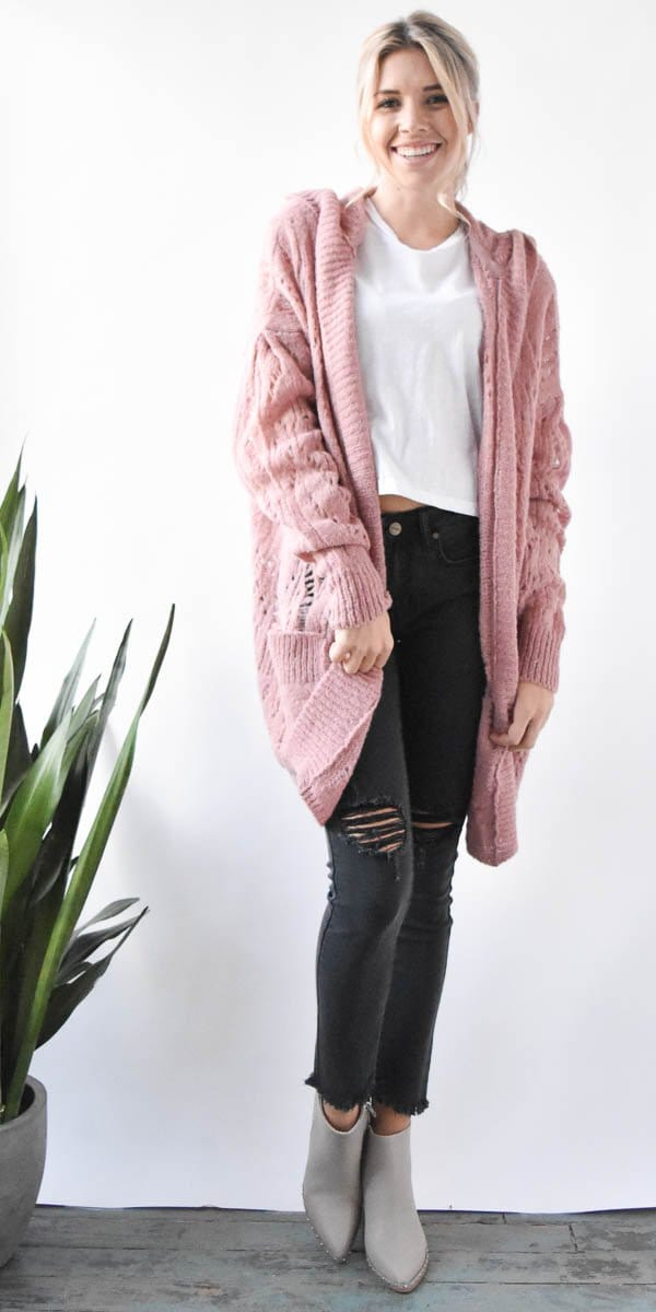 Free People Lemon Drop Cardigan in Rose