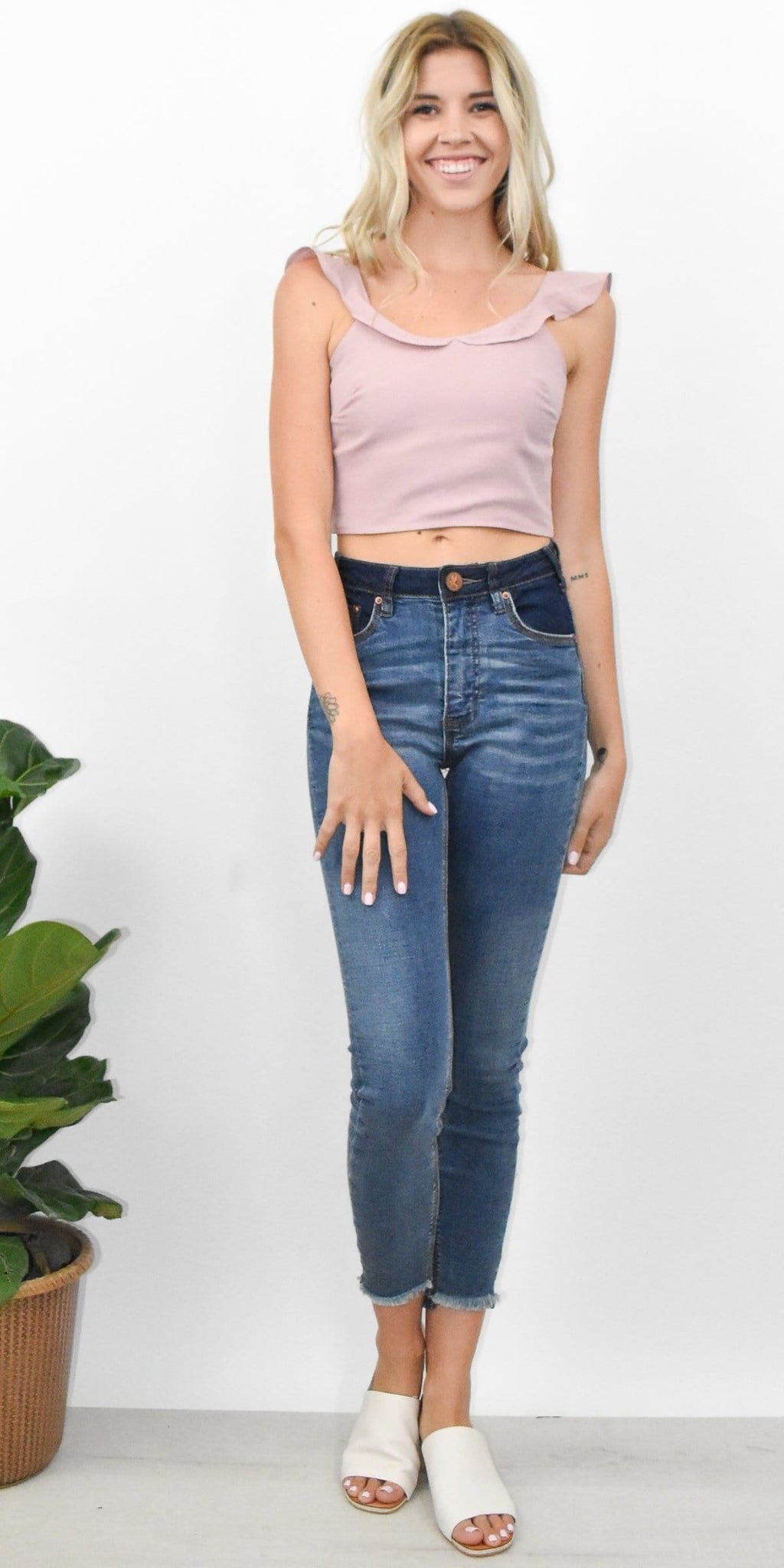 Lucca Diana Tie Back Crop Top in Dusty Pink