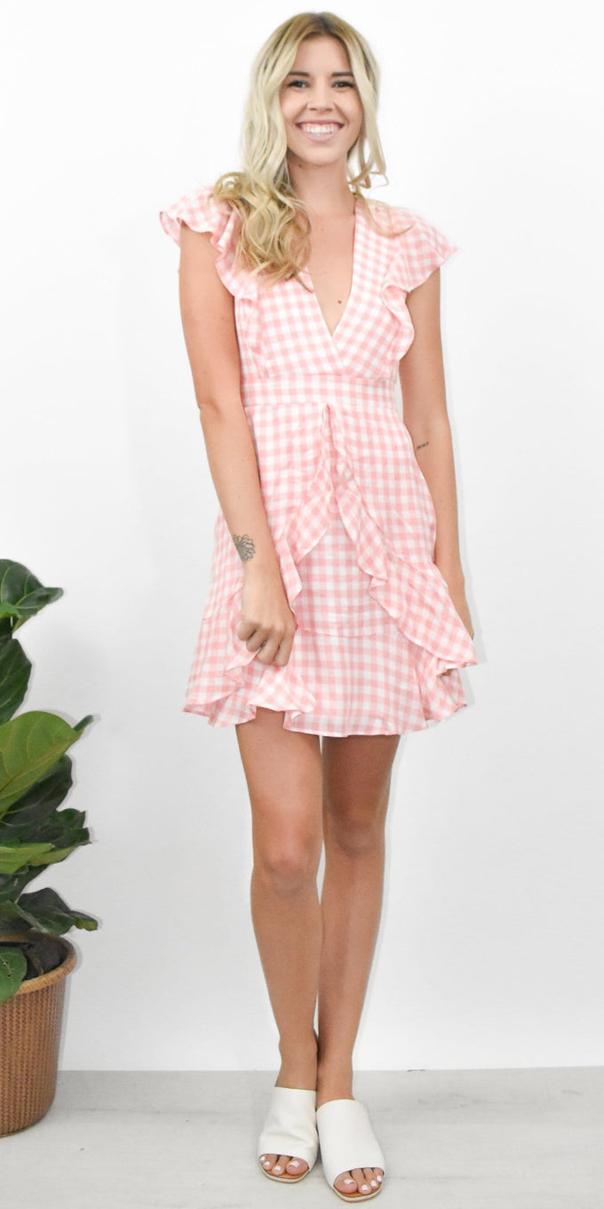 Lost + Wander Brunch Ruffle Dress in Grapefruit Pink