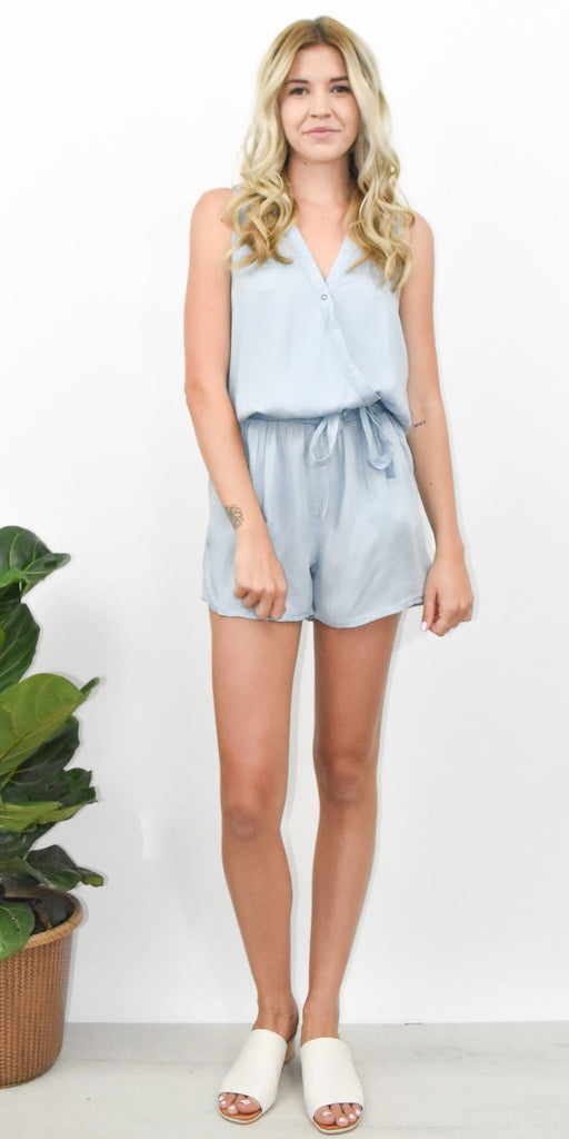 RD Style Chambray Romper in Soft Blue