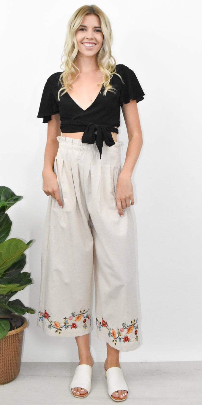 J.O.A. Embroidered Pleated High Waist Pant in Natural