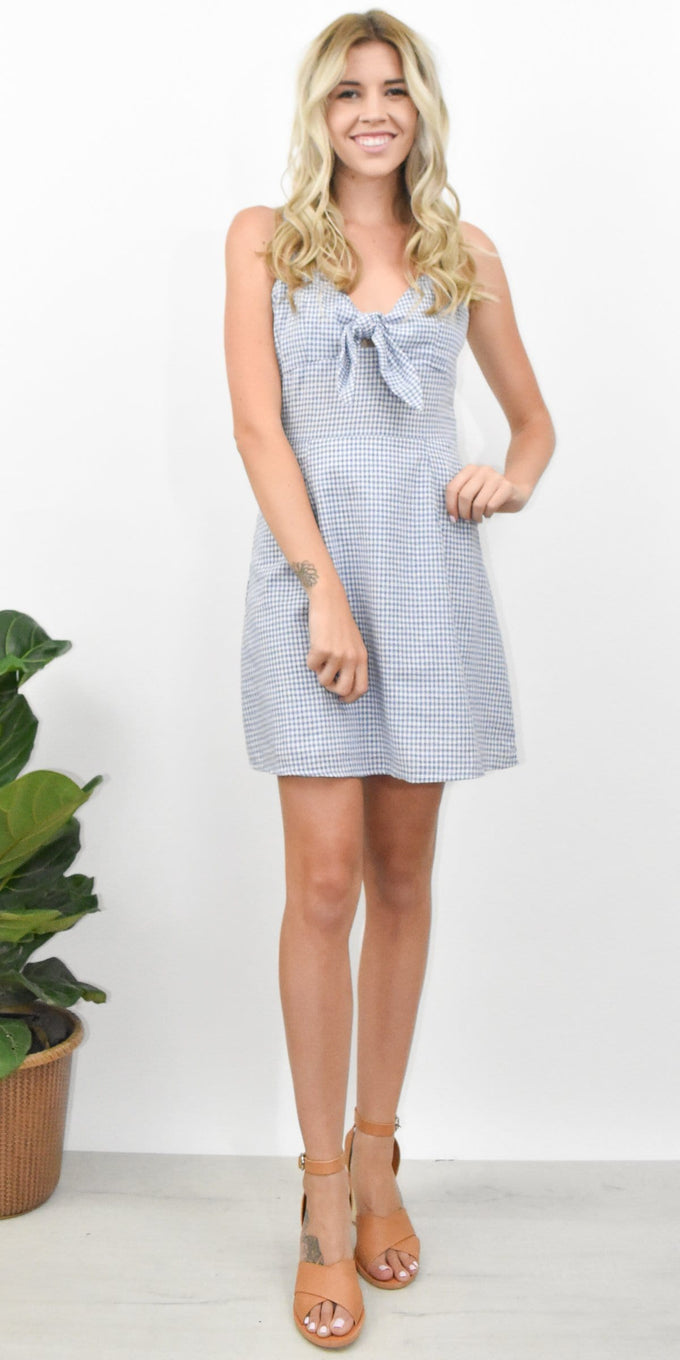 J.O.A. Tie Front Sleeveless Dress in Blue Gingham