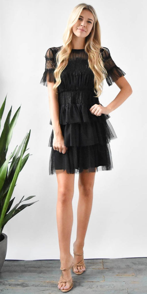 Willow & Clay Tulle Lace Mini Dress in Black