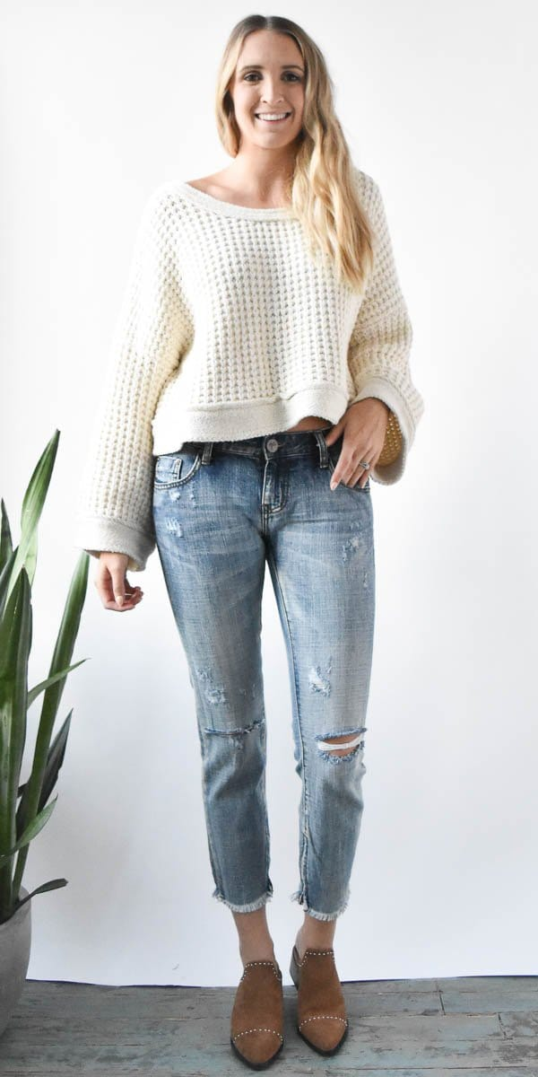 Free People Maybe Baby Sweater in Ivory