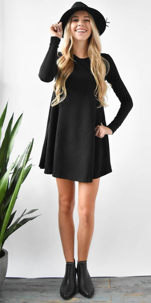 Show Me Your Mumu Harrison  Babydoll in Black Solid Stretch