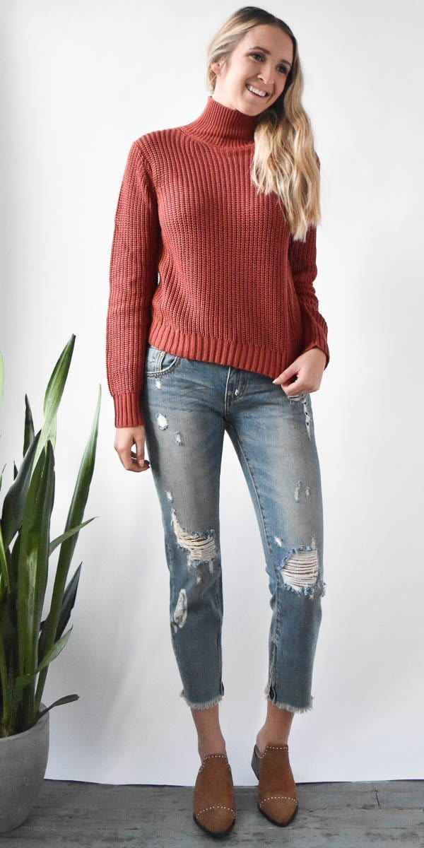 Minkpink Don't Cross Me High Neck Knit in Brick