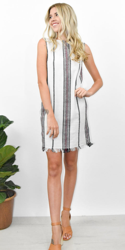 RD Style Woven Striped Shift Dress