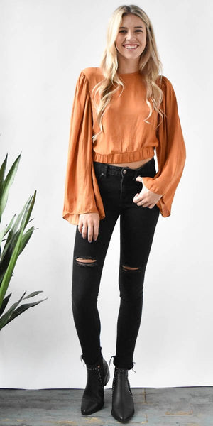 Wide Sleeve Crop Top in Ginger