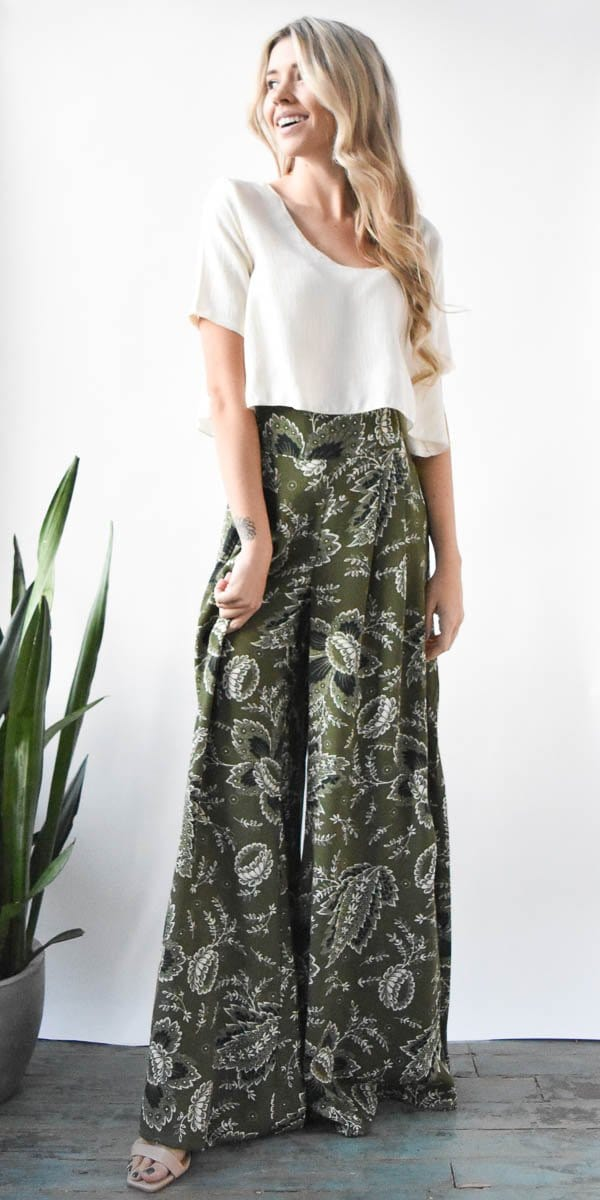 Otis & Maclain Florence Wide Leg Pant in Green & White Print