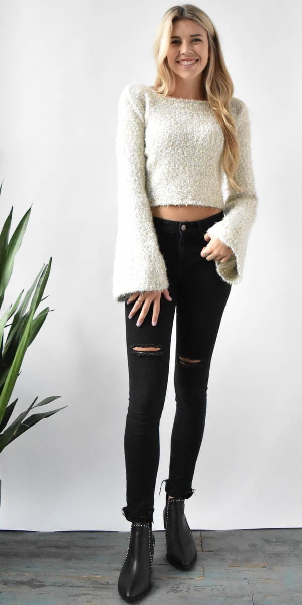 Endless Rose Lurex Knit Cropped Sweater in Oyster Combo